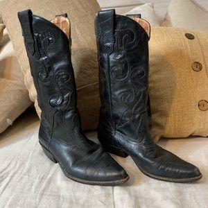 Vintage Western black cowboy boots.